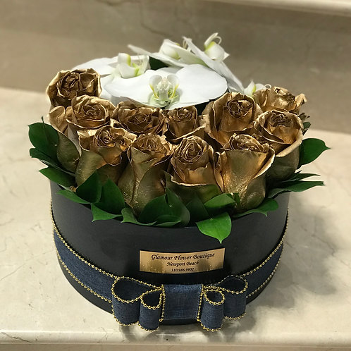 Box of Gold Roses with Orchid