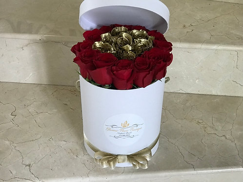 Box of Red and Gold Roses