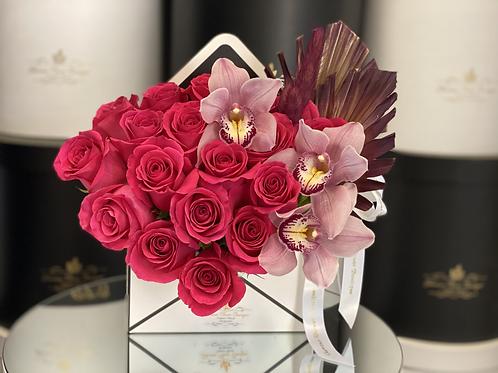 Envelope Arrangement in Color Hot Pink