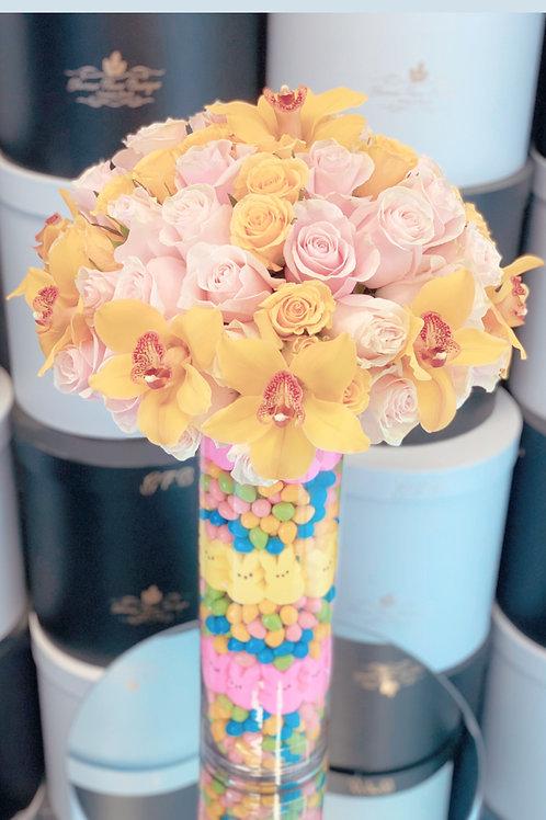 Large Size Flower Arrangement With Candy Vase