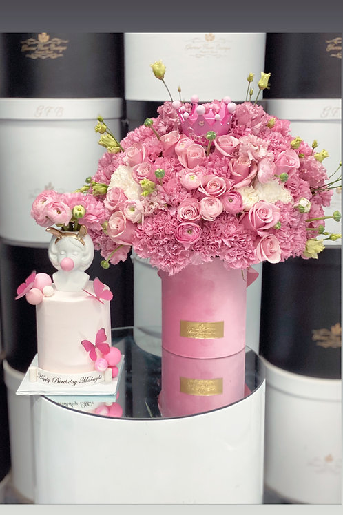 4' tall Cake and Medium Size Flowers in pink Color