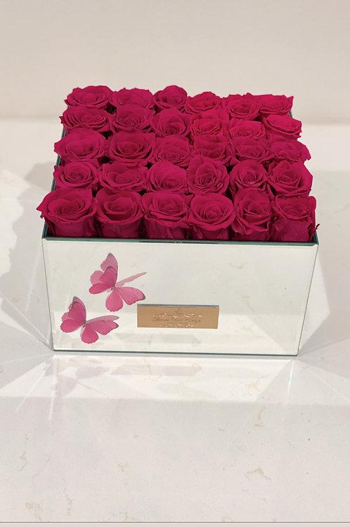 "Large Size Longe Lasting Roses in Mirror Vase  ""25 to 30 Roses"""