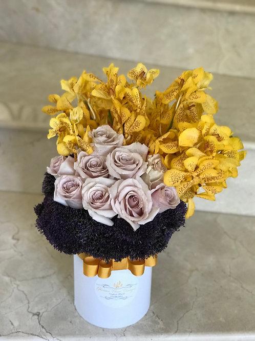 Medium size Flower arrangement in Cylinder Box