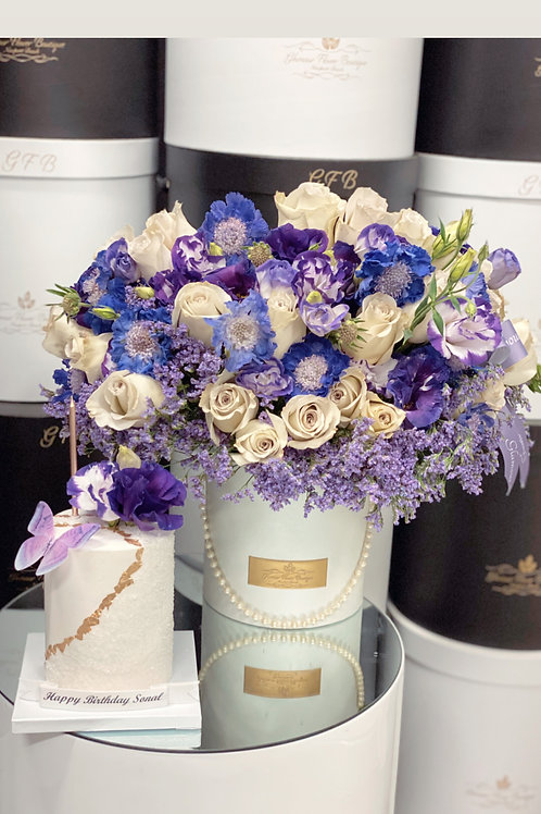 "Purple Shades Medium Size Bouquet with 4""Tall Cake"