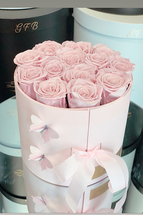 Light Pink Box of Preserved Roses with chocolates