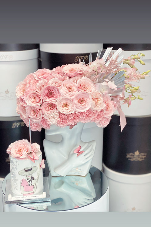 """Lady's Hat Flowers with 4"""" tall Cake Match"""