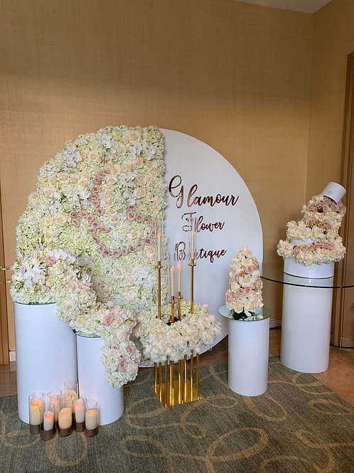 Wedding Fresh Floral back Drop with Decorations