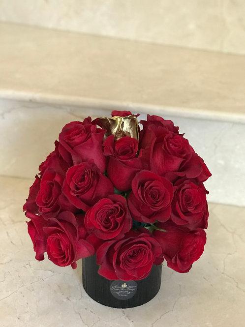 Small Rose Arrangement in Ceramic Vase
