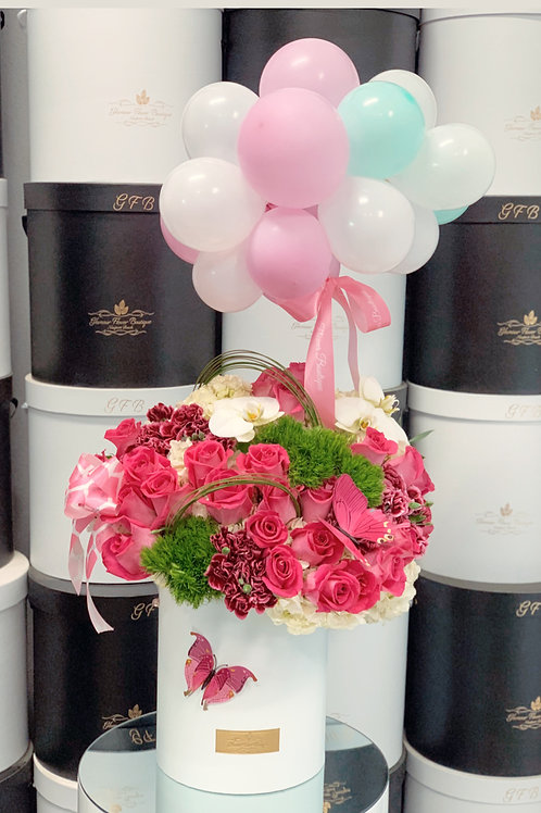 """Large Size flower Arrangement with  Ballons and 4"""" Tall Cake"""