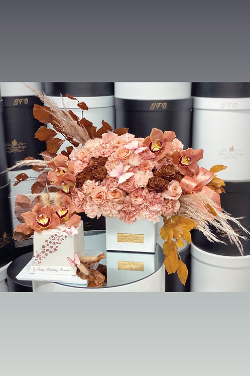 Set of Cake and Flowers in Fall style