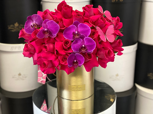 Medium Size Hot Pink Flowers in Gold Box