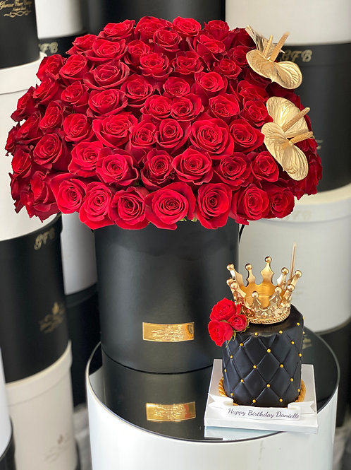 "Set of Large red Roses Bouquet with 4"" tall king Style Cake"