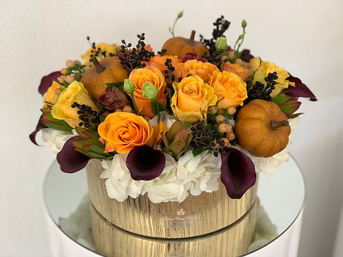 Fall Arrangement in Round Ceramic vase in 18""