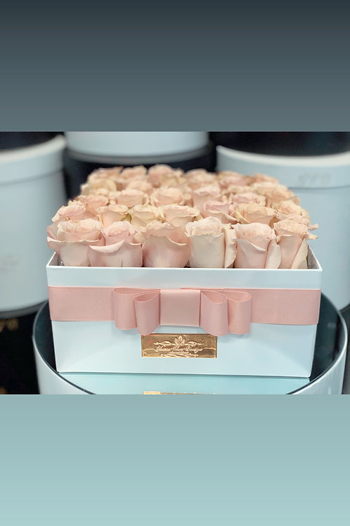 Light Pink Roses in Large Square Box
