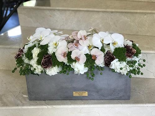 Large Size Flower Arrangement in Cement Vase