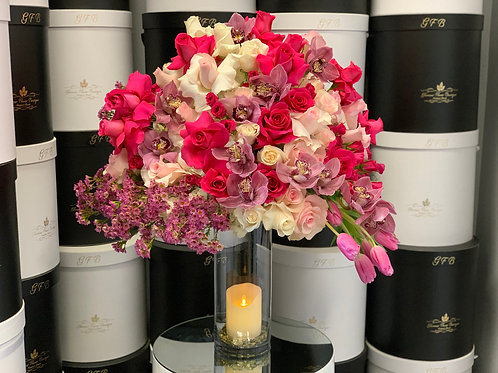 Extra Large mixed Flowers with Candle Design