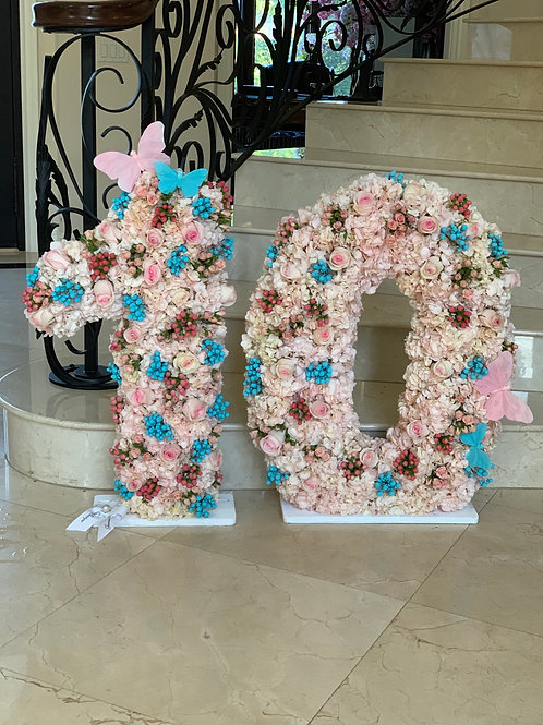 33' Number 10 with Butterfly Decorations