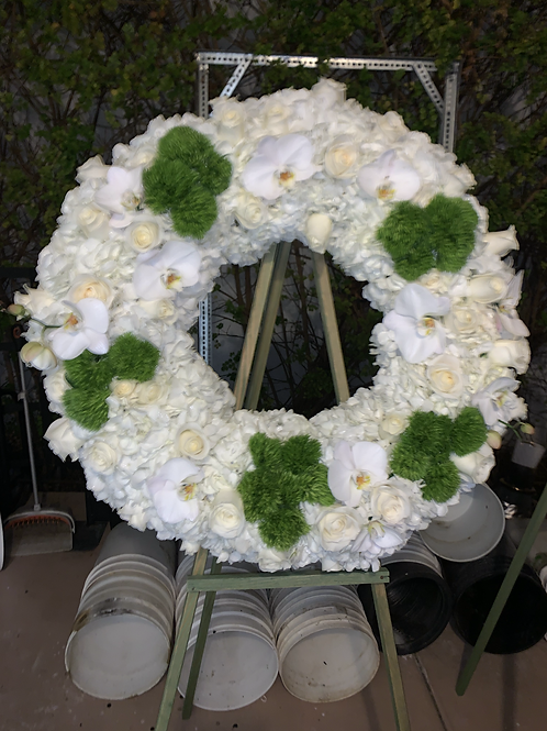 White and green Memorial Stand Flowers