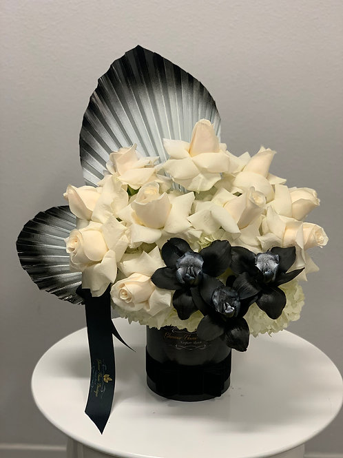 Small Flower Arrangment with Black Orchids