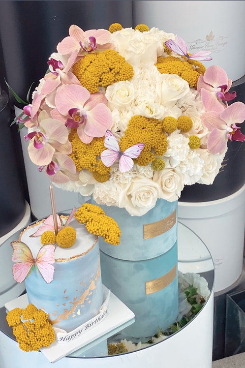 """Set of Flowers and 4"""" tall Cake in color Yellow and Pink"""