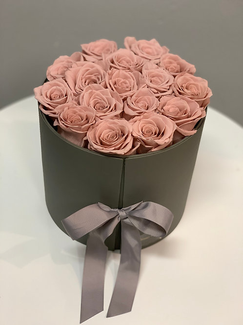 Preserved Roses in Gray Box with Glamour Flower Boutique's chocolates