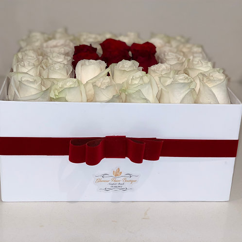 Large square shape box with 40 roses