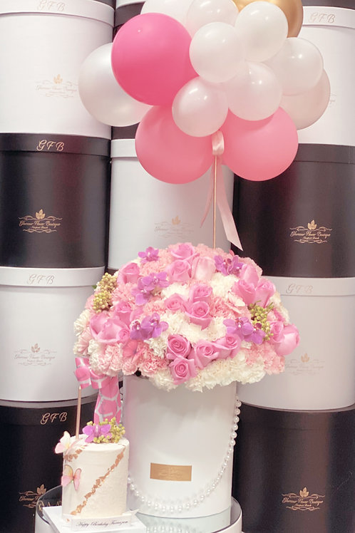 "Set of Pink Flower with 4"" tall Cake and Ballons"