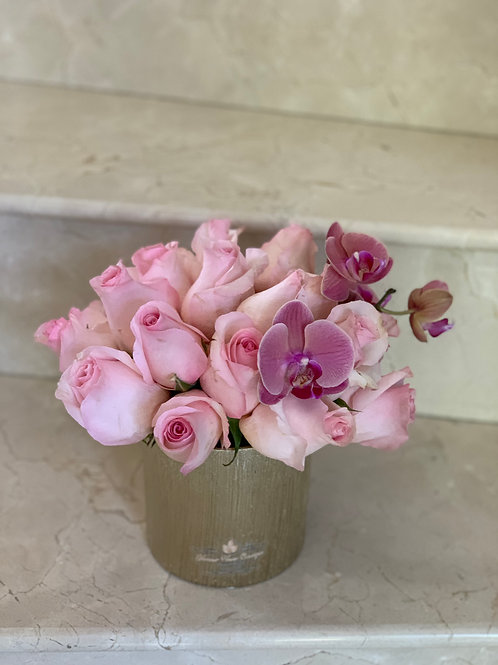 Small Roses and Orchild Centerpiece