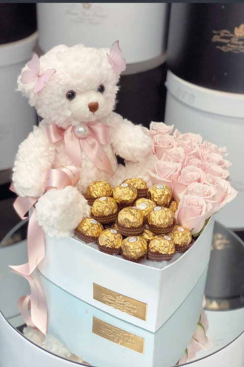 Heart Box of Flower and Chocolate with Teddy-Bear