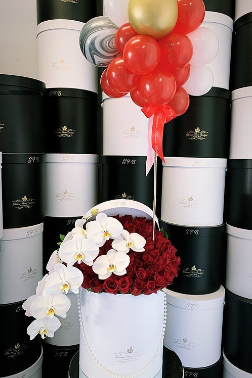 Large Box Roses with Orchids and balloons