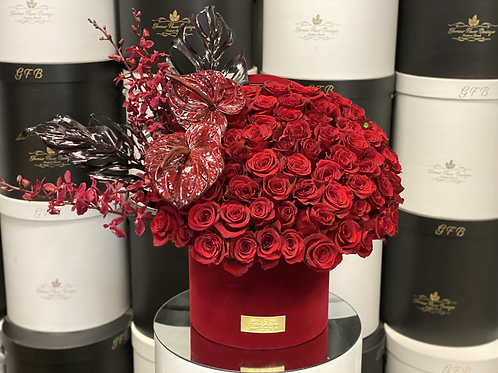 X Large Roses Box with Corner Anthuriums and orchids