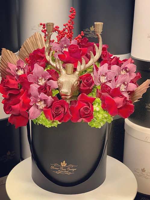 Large Christmas Bouquet with Reindeer candle holder
