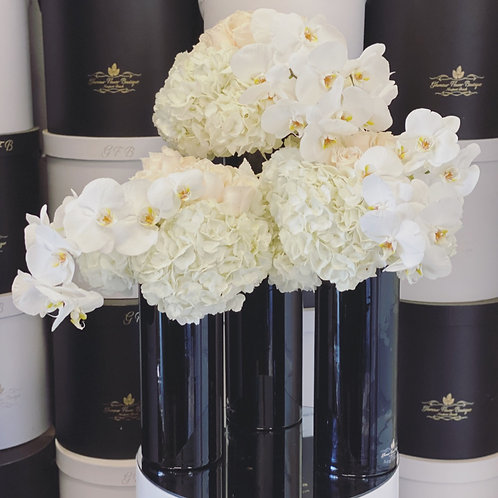 3 Set Black Vases with all White Flowers