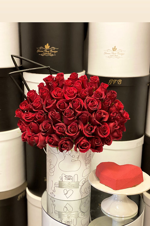 Modern Style box of Roses with cake