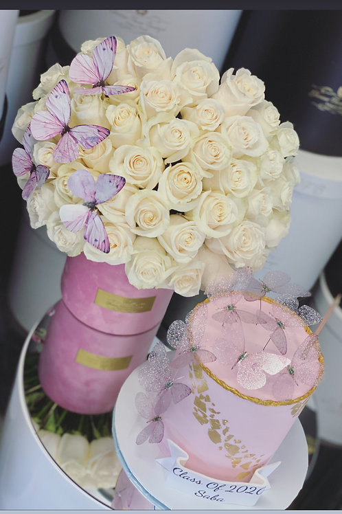 "Set of Medium Size Rose Bouquet with 6"" tall cake"