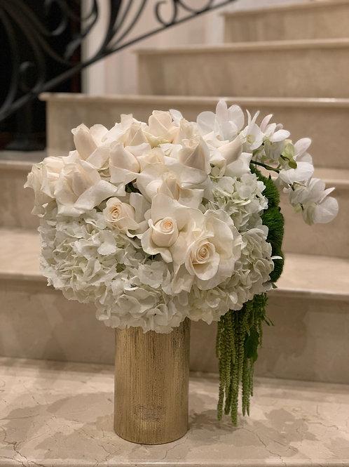 Medium Size Flower Arrangement with Gold Vase