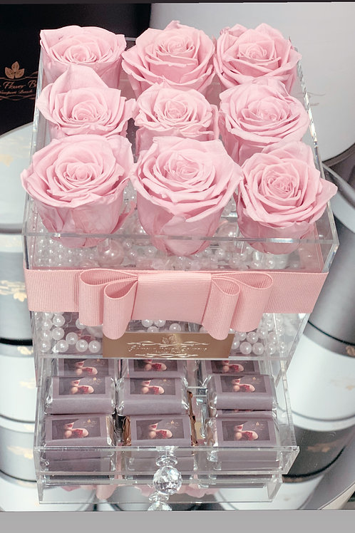 A Box of Preserved Roses with Chocolates