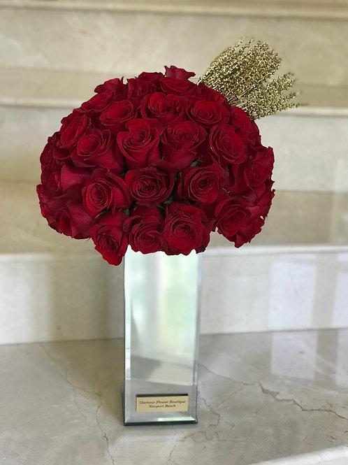 Large Roses arrangement in Mirror Vase