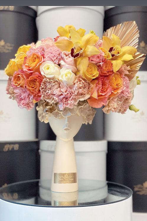 Flowers Hat in Orange Tones Colors