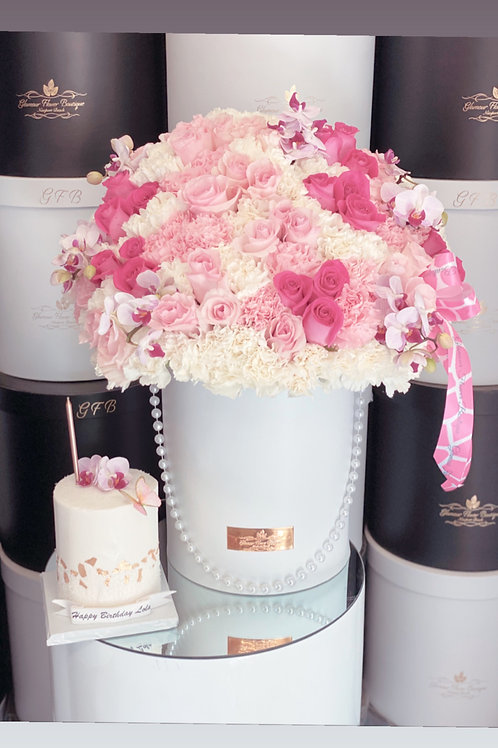 """Set of Large Pink Flowers with 4"""" tall Cake"""