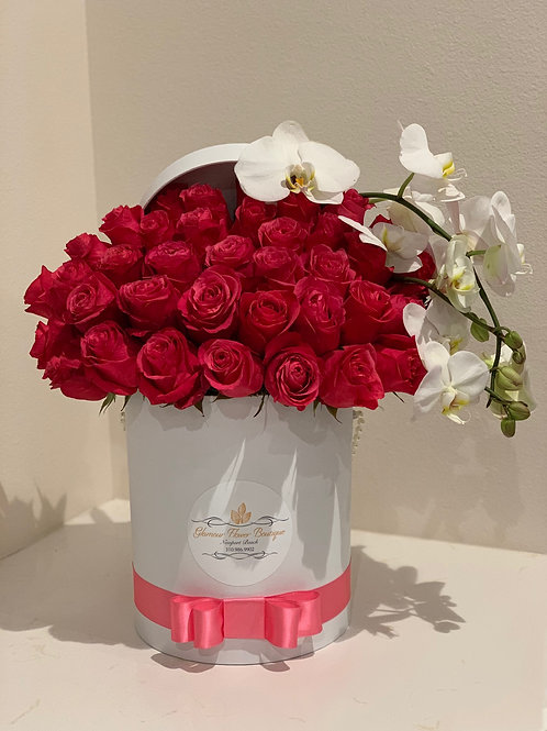 Large Roses Box with Orchilds