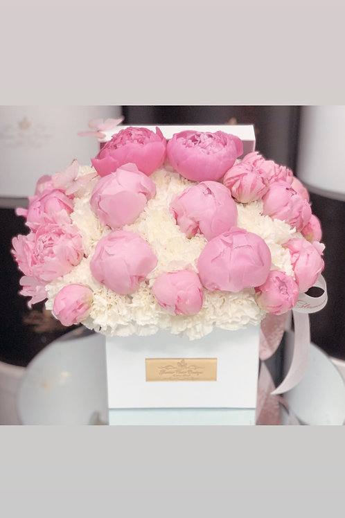 Square Shape Box of Light Pink Peonies in Medium Size