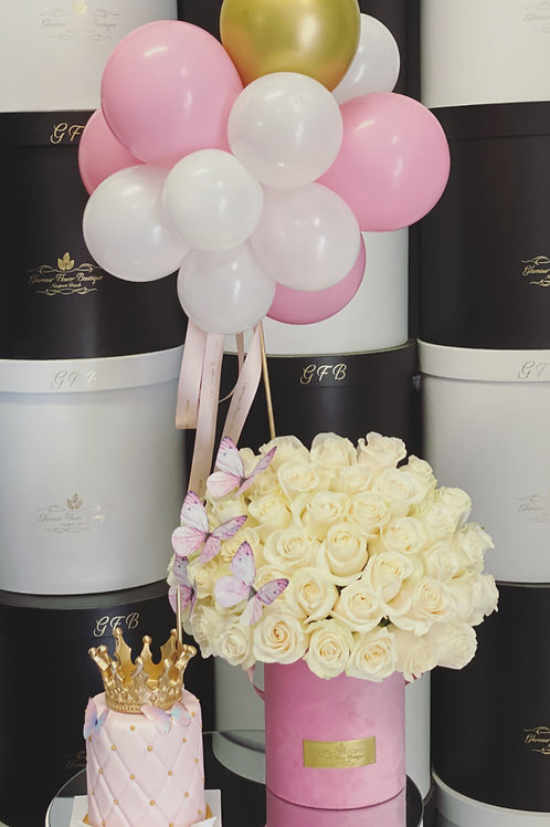 """Set of Princess Style 4""""Tall Cake, Medium Size Roses Bouquet and balloons"""