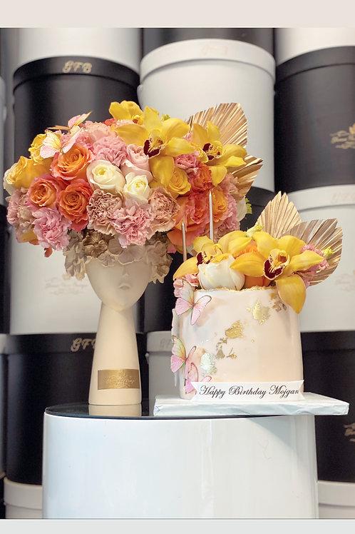"Orange Tones Flowers Hat with 6"" Cake in Beige Color"