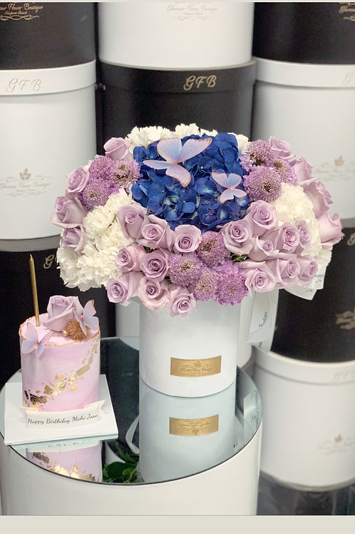 Set of Cake and Flowers in Purple Colors