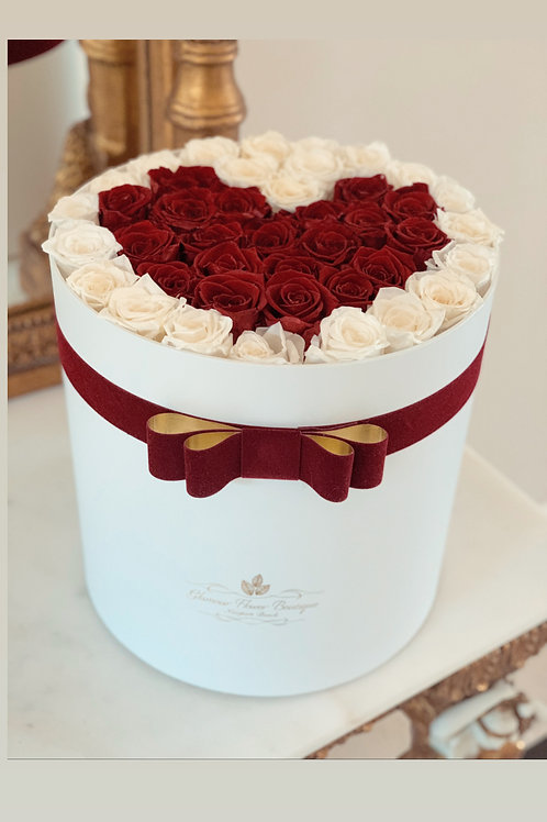 Flat Heart shape Roses in Red and white colors in Large Size