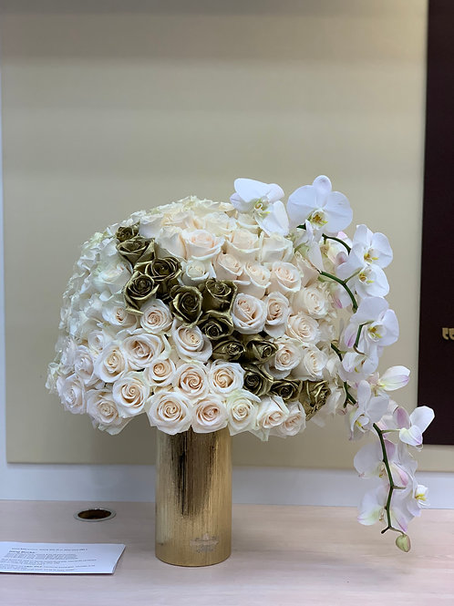 Large Size Flower Arrangement with White Orchids
