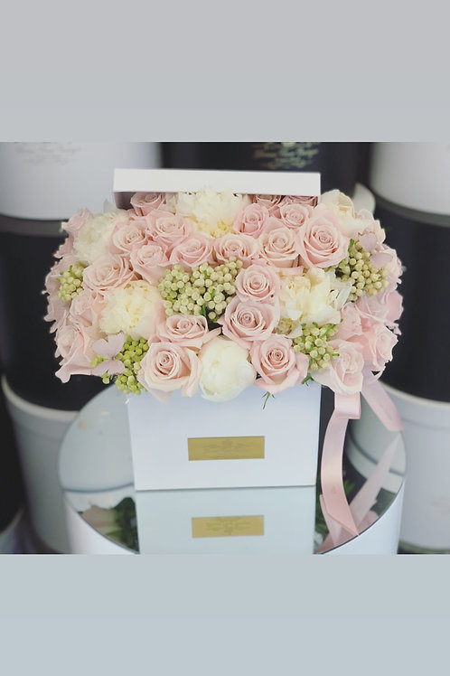 "Mixed of Blush pink and white peonies in Square Box "" Medium to Large Size"""