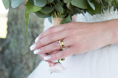 Brudbukett med vackra eukalyptus.