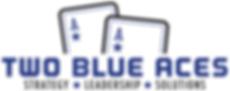 Two Blue Aces Logo with the tagline below that reads Strategy Leadership Solutions
